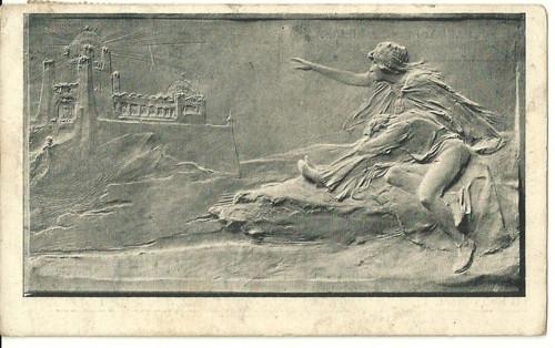 Umělecká pohlednice relief Princ a Liliána