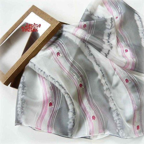 Hedvábný šátek - Zámecké tulipány