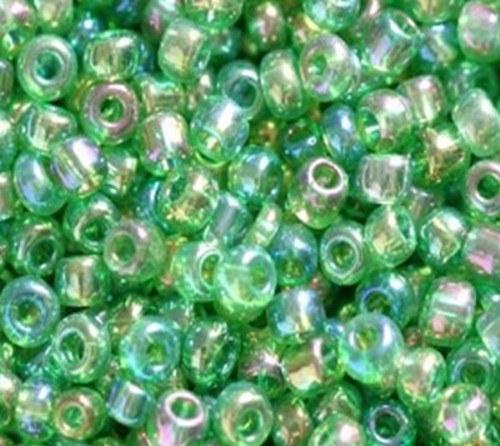 Korálky sklo 260g - třpyt zelená průhl. 2mm