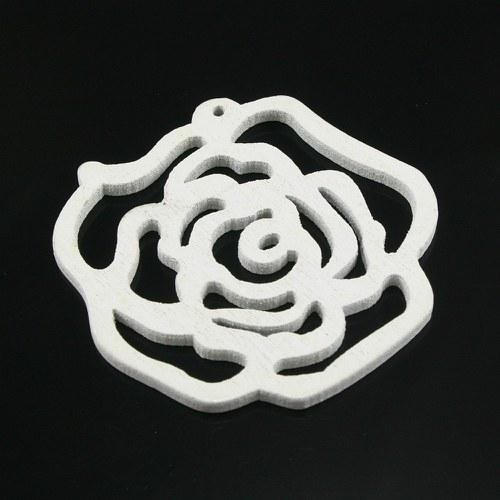 Dřevěný přívěsek - bílá růže