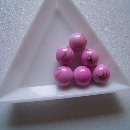 akrylové korálky, žíhané / 10mm / růžové / 10ks
