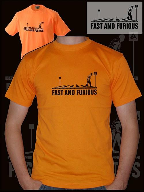 Pánské oranžové tričko fast and furious