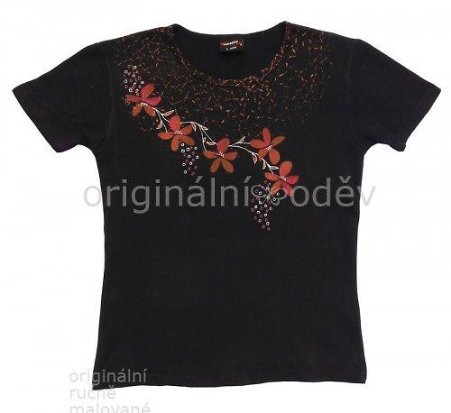 Malované tričko dámské - květy - tmavomodré