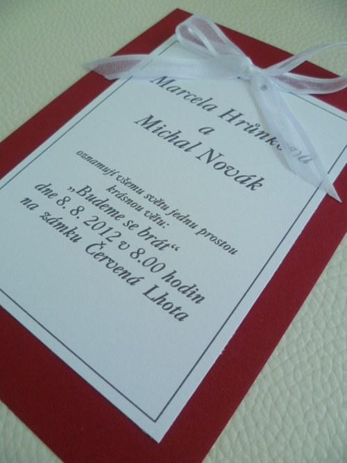 Svatební oznámení v bordó  barvě
