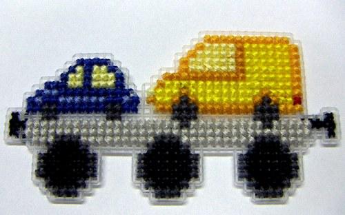 Vyšívaná magnetka - vagón s auty