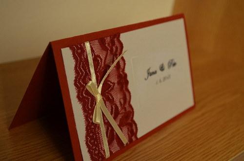 """Svatební oznámení \""""Červená krajka\"""""""