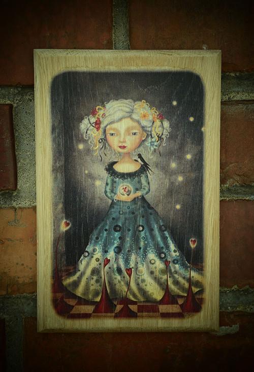 Dřevěný obrázek - Srdcová dáma