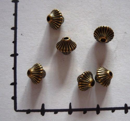 Pokovené korálky staromosaz, 6 ks
