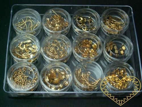 Zlaté bižuterní komponenty - sada pro korálkování