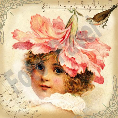 Vintage motiv - dívka-květina 2