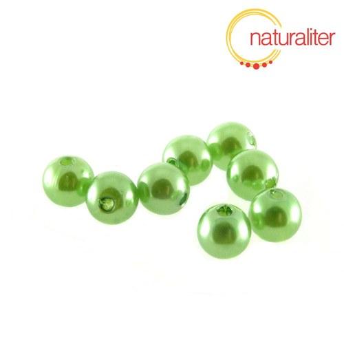Voskované perly, světle zelené, 8mm, 50ks