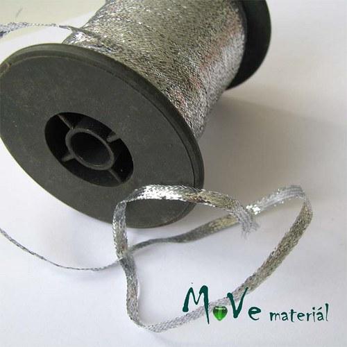 Stuha s lurexem stříbrná, 3,5mm, 1m