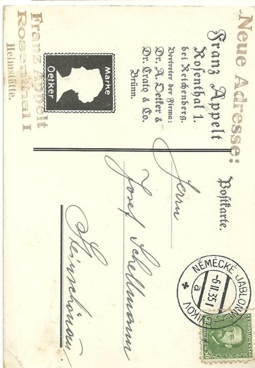 Dopisnice Německé Jablonné Cvikov 1935