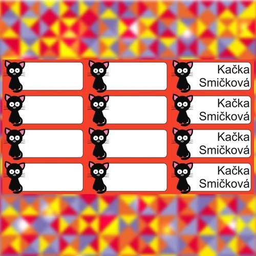 Nažehlovací jmenovky - kočka - červený rámeček