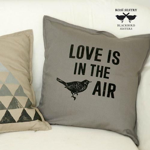 LOVE IS IN THE AIR ... šedý povlak na polštář