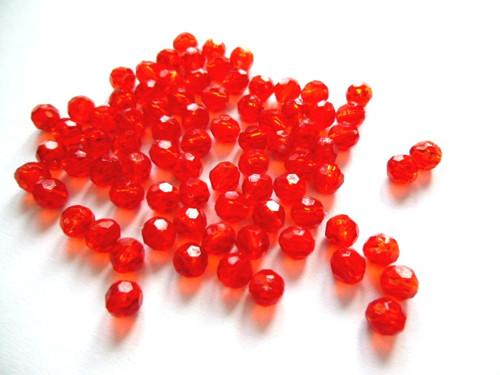 Korálky akrylové broušené červené 5,2mm/50ks