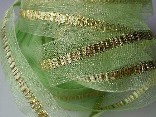 19258 Stuha organza dekorační zelená/zlato