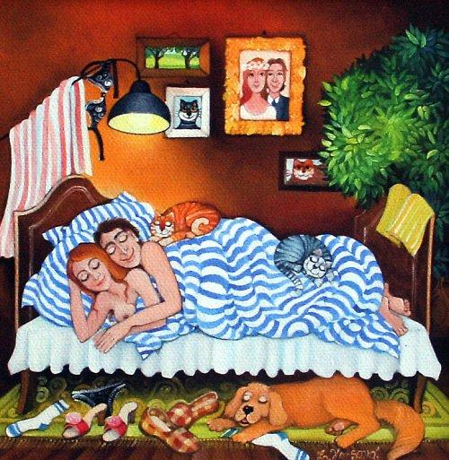Čtyři v posteli a pes
