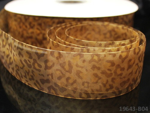 19643-B04 Stuha organza 38mm gepard hnědý, á 1m
