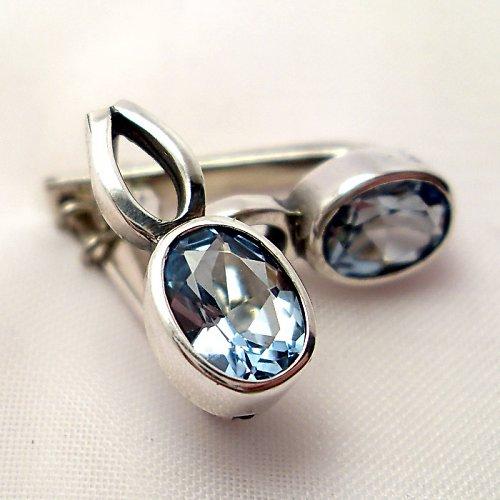 Náušnice «Osmička» - stříbro 925, modrý topaz