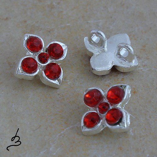 Kytička kovová s kamínky, 2 ks VÝPRODEJ