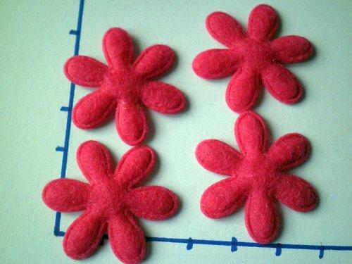 Květina z filce, sytě růžová, 2 kusy