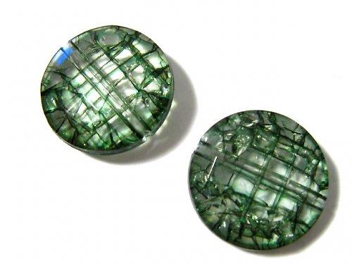 0801633/Craclovaná placička zelená, 3 ks