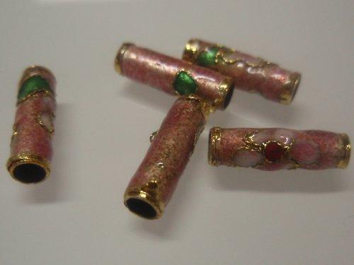19468 Cloisonne váleček - růžový 15mm 1ks