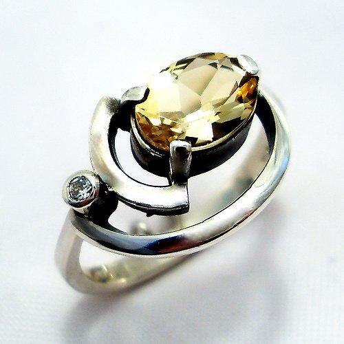 Prsten «Sputnik» - stříbro 925, přírodní citrín