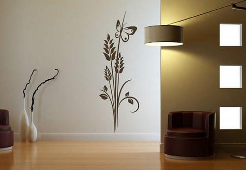 Kvet a motýľ 60x20cm Nálepka na stenu 156n