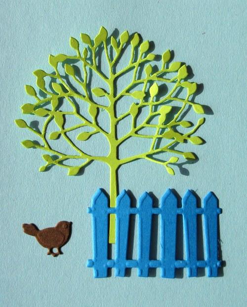 Strom, plot a ptáček - barva podle přání