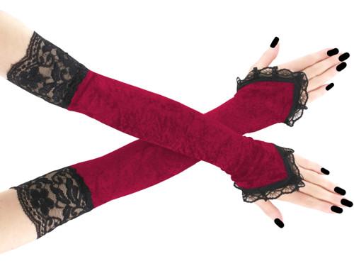 Dámské červené sametové společenské rukavice 1020C