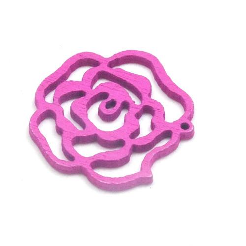 Dřevěný přívěsek - malá vínová růže, 3 ks