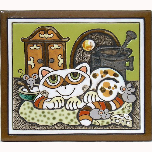 Keramický obrázek - Kočka a skříň K-149-Z