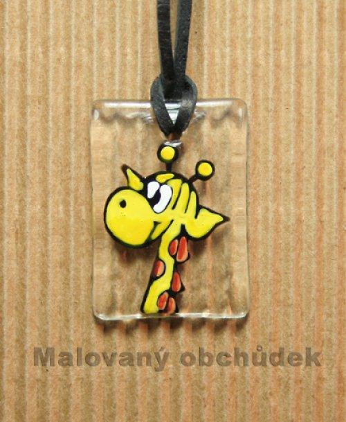 Malovaný přívěsek  na dlouhý krk s žirafkou