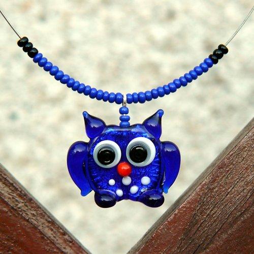 Sova modrá - vinutá perle