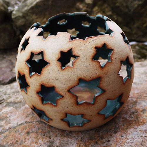 Kameninové zahradní světlo (koule) - Hvězdičková