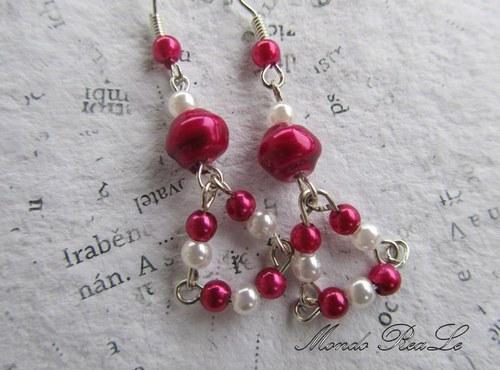 Náušnice a přívěšek - fialkovo stříbrné perličky