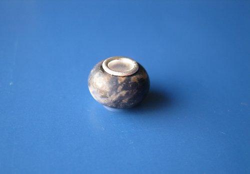 Korálek - jádro stříbro 925-mramor modrá/hněděšedá