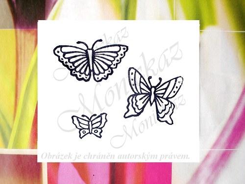 Motýlci. 3 kusy. Omyvatelná razítka.