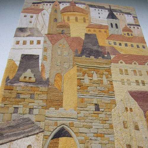 Malostranské věže,  pískovcový obraz