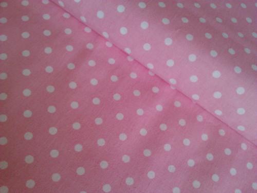Bílý puntík 7mm na růžové