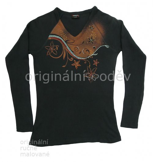 Malované tričko dámské - květy - černé