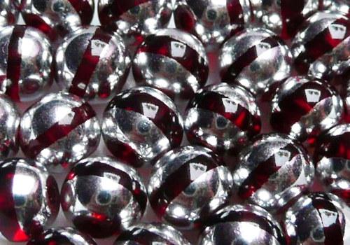 Skleněné korálky s proužkem 6 mm - červená / 10 ks