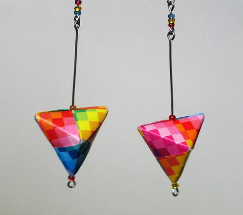 Origami obrácené pyramidky - náušnice