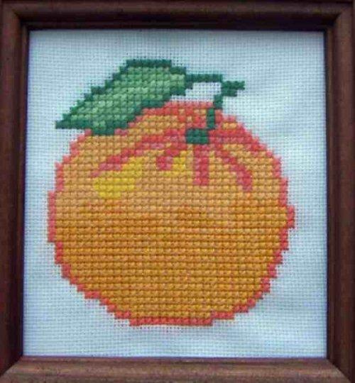 Vyšívaný obrázek - mandarinka