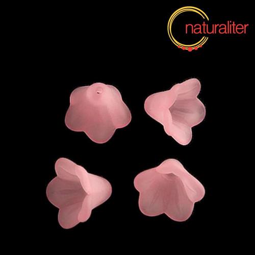 Květina akrylová - zvonek 14mm růžová, 8ks