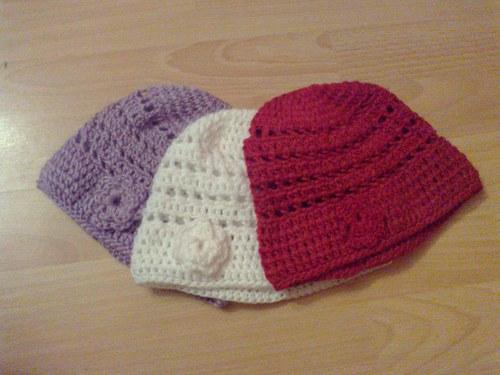 Jarné hačkované čiapky