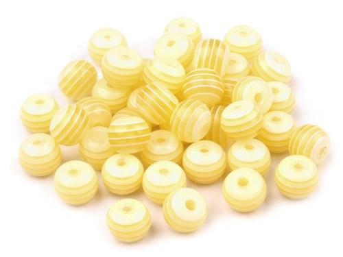 Plastové korálky Ø 8mm s proužkem - žluté (10ks)