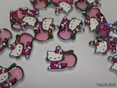 19428-b09 Přívěšek Kitty růžová s jablíčkem